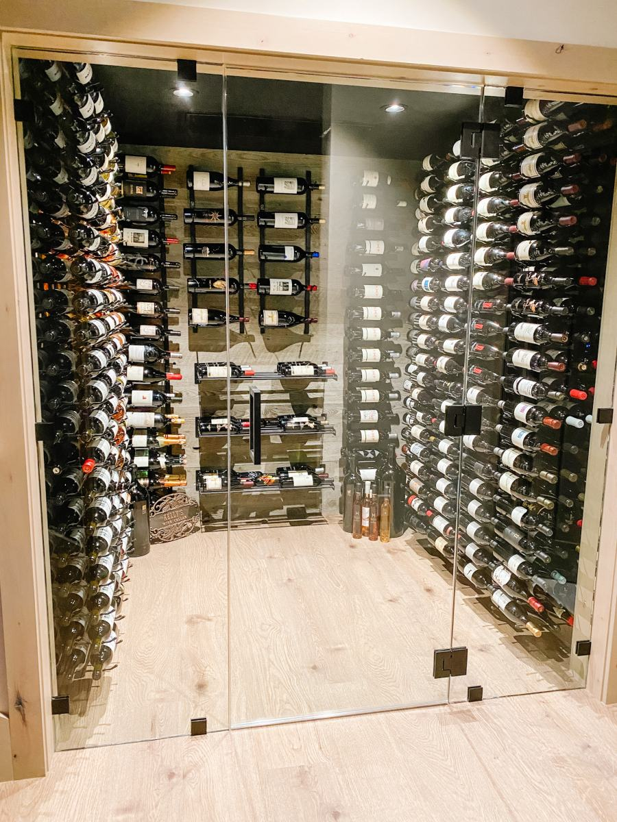 Modern Wine Room with a view from the Kitchen!